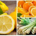 Limão, laranja e capim-limão